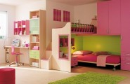 Modern Ideas For Pink Girls Bedrooms : 15 Cool Ideas For Pink Girls Bedrooms With Single Bed Inside Cabinet And