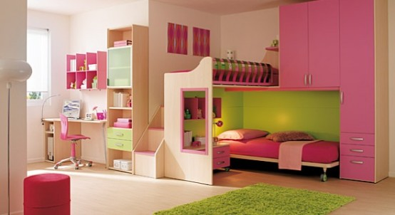 Modern Ideas For Pink Girls Bedrooms: 15 Cool Ideas For Pink Girls Bedrooms With Single Bed Inside Cabinet And