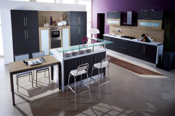 Purple Kitchen Idea to Display Elegance in Your Kitchen: 2 Stool Bars Cutlery Set Washbasin Faucet Kitchen Cabinet