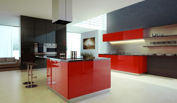 Ordinaire Customize Your Kitchen Decoration With Interactive Kitchen Design Tools : 2  Stool Bars Red Kitchen Cabinet ...