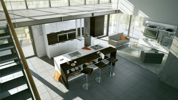 Customize Your Kitchen Decoration with Interactive Kitchen Design Tools: 3 Black Stool Bars TV Grey Fur Rug Washbasin Kitchen Cabinet ~ stevenwardhair.com Interior Design Inspiration