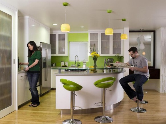 Nice Inpiration of Kitchen Color Theme That Pleasing From the Home Owner: 3 Pendant Lamps 5 Light Green Stool Bars Washbasin Faucet Laminate Kitchen Floor