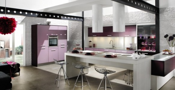 Purple Kitchen Idea to Display Elegance in Your Kitchen: 3 Stool Bars 2 Rangehood Kitchen Cabinet Open Kitchen Faucet