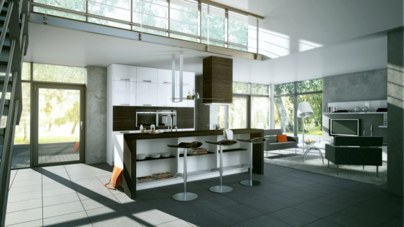 Customize Your Kitchen Decoration with Interactive Kitchen Design Tools: 3 Stool Bars Standing Floor Lamp TV Open Kitchen Kitchen Cabinet ~ stevenwardhair.com Interior Design Inspiration