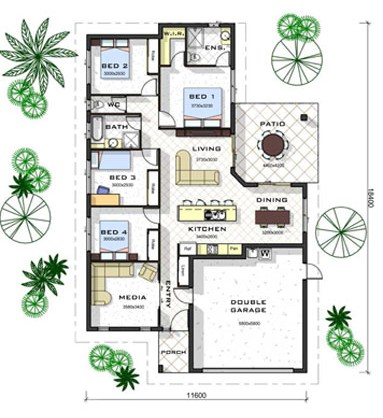 Excellent Home Living Open Floor Plan Design Ideas: 4 Bedroom Home Clever Open Floor Plan Design