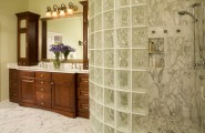 Interesting Photos Of Glass Block Showers : Amazing Curved Glass Block Shower Enclosure Features Dual Shower Heads With Multiple Body Sprays For A Spa Experience At Traditional Bathroom