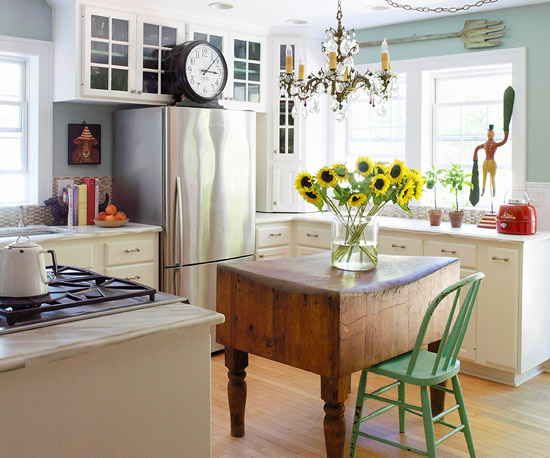 Various Small Space Kitchen Island Design Ideas : Awesome Vintage Butcher Block Table Works As A Small Kitchen Island With Countertop Dips Slightly Lower In The Middle And Painted Chair