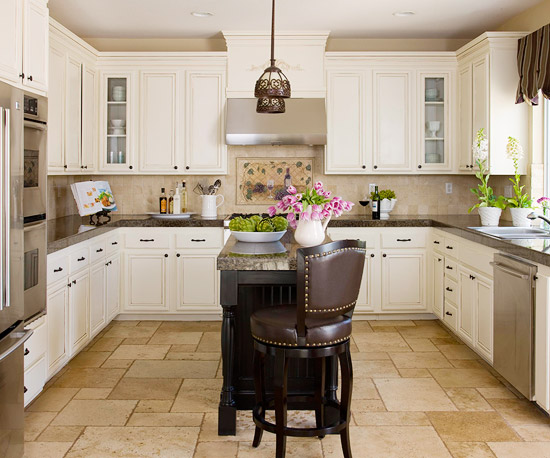 Various Small Space Kitchen Island Design Ideas: Beautiful Light Brown Boxy Kitchen Interior Design With White Cabinetry And Slender Kitchen Island On Light Brown Slate Tile Flooring