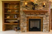 Awesome Stone Fireplace Design For Cozy Living Room : Beautiful Modern Stone Fireplace Design And Built In Shelves