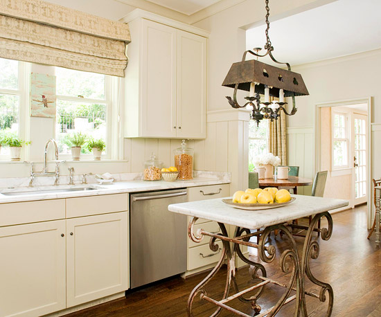 Various Small Space Kitchen Island Design Ideas: Beautiful Traditional Kitchen Design With Rustic Chandelier Above Crisp Marble Countertop Whimsical Distressed An Elegant Eye Catching Island And White Kitchen Cabinet