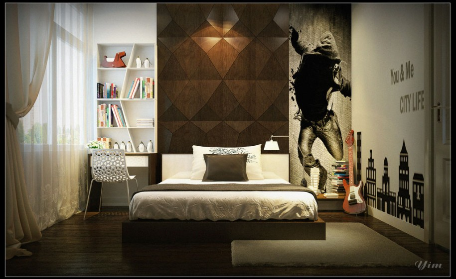 Cool Bedroom Wall Designs Ideas : Cool Bedroom Wall Design Boys Bedroom With Cool Brown Wall Art Wall Decal Design And White Bookshelves Ideas