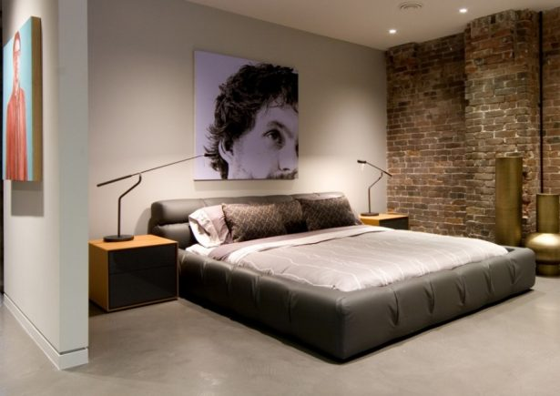 Cool Bedroom Wall Designs Ideas: Cool Bedroom Wall Design Exposed Brick Wall In Modern Mens Bedroom Interior Design With Low Profile Bed And Unique Besdide Table Lamp ~ stevenwardhair.com Bed Ideas Inspiration