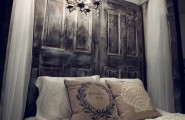 Cool Bedroom Wall Designs Ideas : Cool Bedroom Wall Design Stunning Old Doors Headboard Idea