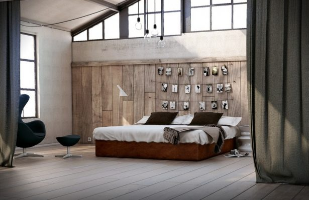 Cool Bedroom Wall Designs Ideas: Cool Bedroom Wall Design Utilitarian Eclectic Bedroom Feature Wooden Wall With Photograph Exposed Steel Ceiling Frame ~ stevenwardhair.com Bed Ideas Inspiration