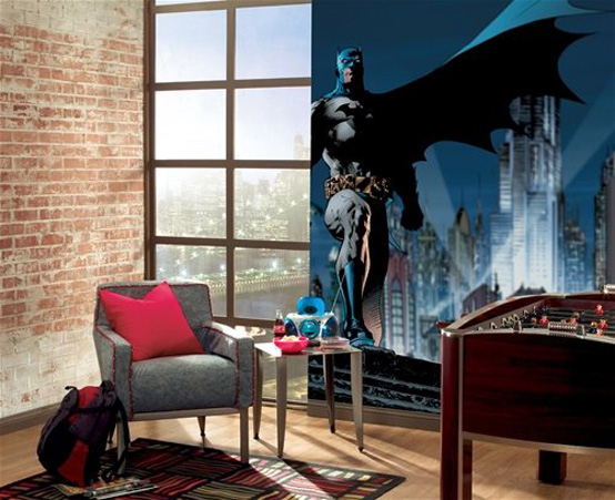 Cool Bedroom Wall Designs Ideas : Cool Bedroom_Wall Design Kids Bedroom Interior Design With Exposed Brick Wall And Batman Wall Decal And Floor To Ceiling Glass Window