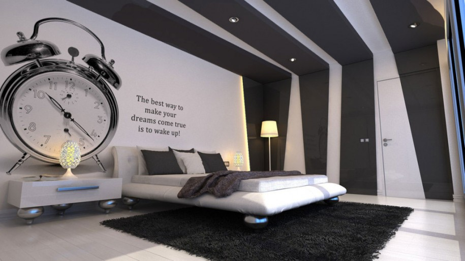 Cool Bedroom Wall Designs Ideas : Cool Creative Modern Black And White Bedroom Wall Design With & Bed Ideas: Cool Creative Modern Black And White Bedroom Wall Design ...