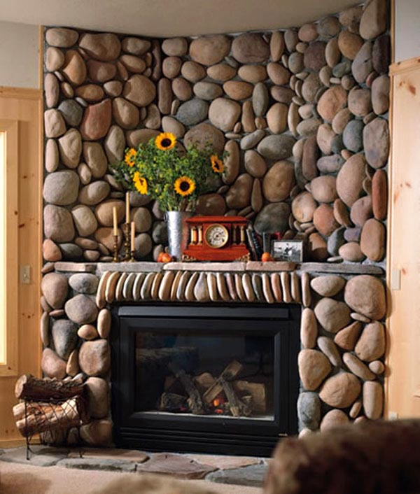 Awesome Stone Fireplace Design For Cozy Living Room : Cool Home Natural Shape Stone Fireplace Design Ideas