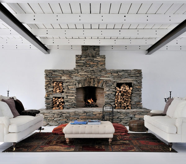 Awesome Stone Fireplace Design For Cozy Living Room: Cool Modern White Family Room Design With Cool Stone Fireplace And Open Framework Wooden Ceiling With Steel Beams And White Leather Sofa On Area Rug Ideas ~ stevenwardhair.com Fireplace Inspiration