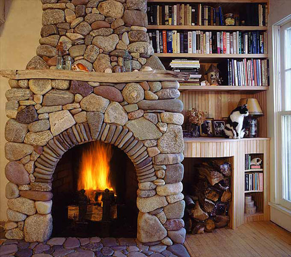 Awesome Stone Fireplace Design For Cozy Living Room: Cool Natural Various Size Stone Fireplace Design Ideas With High End Wooden Bookshelves And Wooden Integrated Stone Flooring Ideas