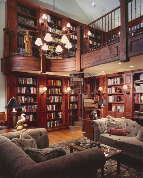 Miscellaneous High End Bookshelves Design: Cool Two Level Two Storey Library Reading Room Design With Custom Wooden High End Bookshelves And Stairs And Railing Ideas ~ stevenwardhair.com Bookshelves Inspiration