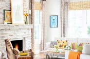 Awesome Stone Fireplace Design For Cozy Living Room : Cozy Delight Living Room Decaration With Stone Fireplace As A Part Of Wall Decor With Tall Glass Window Curtain And Sofa On Area Rug Wooden Flooring