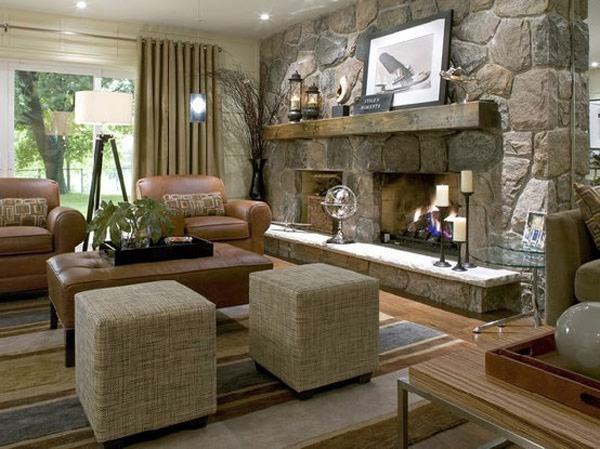Awesome Stone Fireplace Design For Cozy Living Room: Cozy Living Room With Interior Design With Cool Stone Fireplace As A Part Of Cool Stone Room Divider