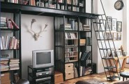 Miscellaneous High End Bookshelves Design : Cozy Reading Room Cool Level High End Bookshelf With Deck And Steel Ladder With Railing Design Ideas