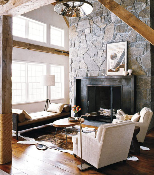 Awesome Stone Fireplace Design For Cozy Living Room : Cozy Small Family Room With Sofa And Bench On Cow Hide Area Rug And Charming Home Slate Stone Fireplace Design Ideas