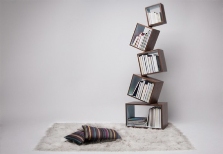 All Kind Of Most Creative Bookshelf Design Ideas: Equilibrium Bookcase Is An Unique Bookshelf With Cantilevered Modules Stacked Upon Each Other At A Single Angled Point
