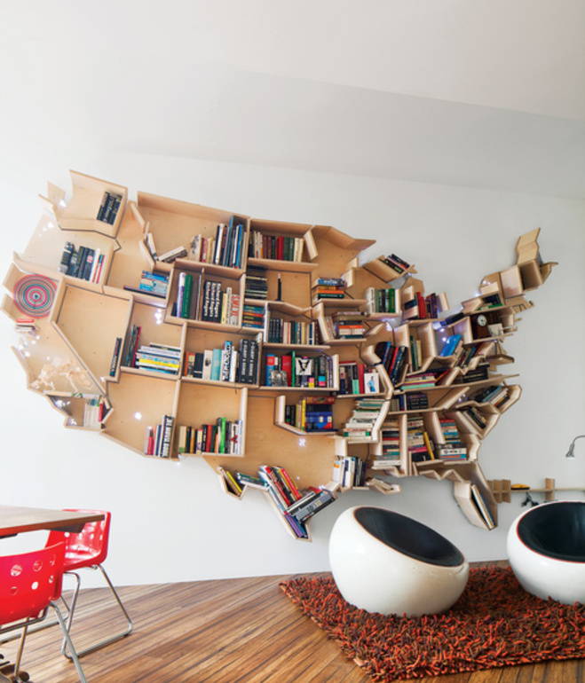 All Kind Of Most Creative Bookshelf Design Ideas: Inspiring An American Map Bookshelf In London