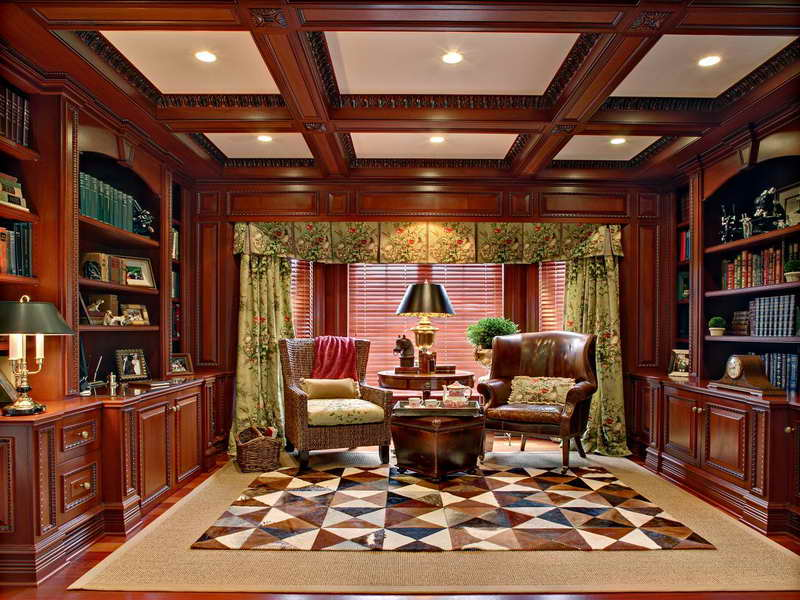 Miscellaneous High End Bookshelves Design : Luxury Reading Room Design With Cool Custom Wooden High End Bookshelves With Big Leather Armchair On Brown Scheme Area Rug Light Green Scheme Floral Curtain Ideas