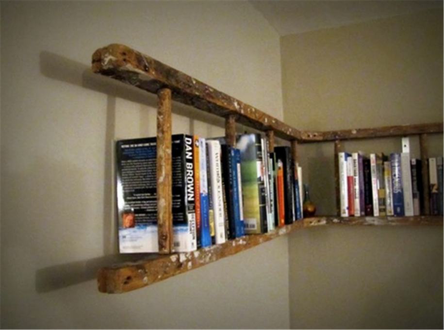 All Kind Of Most Creative Bookshelf Design Ideas: Most Creative Up Cycled Ladder Bookshelves Design Ideas