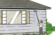 DIY: How To Paint Exterior House : Preparation For Exterior Painting 5 To Remove Caked On Dirt Use Scrub Brush Or Sponge  A Pail Of Warm Water With A Good  Strong
