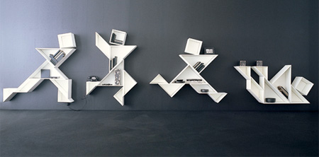 All Kind Of Most Creative Bookshelf Design Ideas : Tangram Bookshelf Is A Creative Modular Bookshelf System Designed By Daniele Lago. Seven Pieces Combined With Imagination Make New Shapes Come To Life