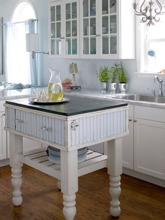 Various Small Space Kitchen Island Design Ideas : The Vintage Kitchen Island With Slab Of Black Soapstone Surface Adds Cottage Character To This Sunny Small Kitchen