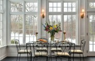 Awesome Sunroom Design Ideas For Summer Time : A Dining Room Surrounded Interior By Windows That Customized To Fit Your Lifestyle And Enhance The Beauty Value Of Your Home With Dining Table Decoration