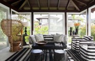 Awesome Sunroom Design Ideas For Summer Time : A Gathering Great Sunroom That Can Be Used To Stimulate Your Imagination And Get Practical Ideas For Creating The Perfect Ideas With Striping Sofa And Living Room Decoration