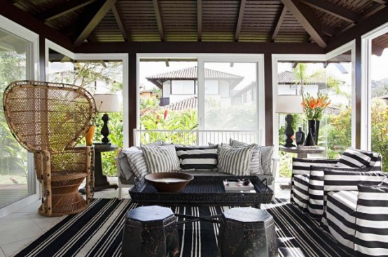 Awesome Sunroom Design Ideas For Summer Time: A Gathering Great Sunroom That Can Be Used To Stimulate Your Imagination And Get Practical Ideas For Creating The Perfect Ideas With Striping Sofa And Living Room Decoration
