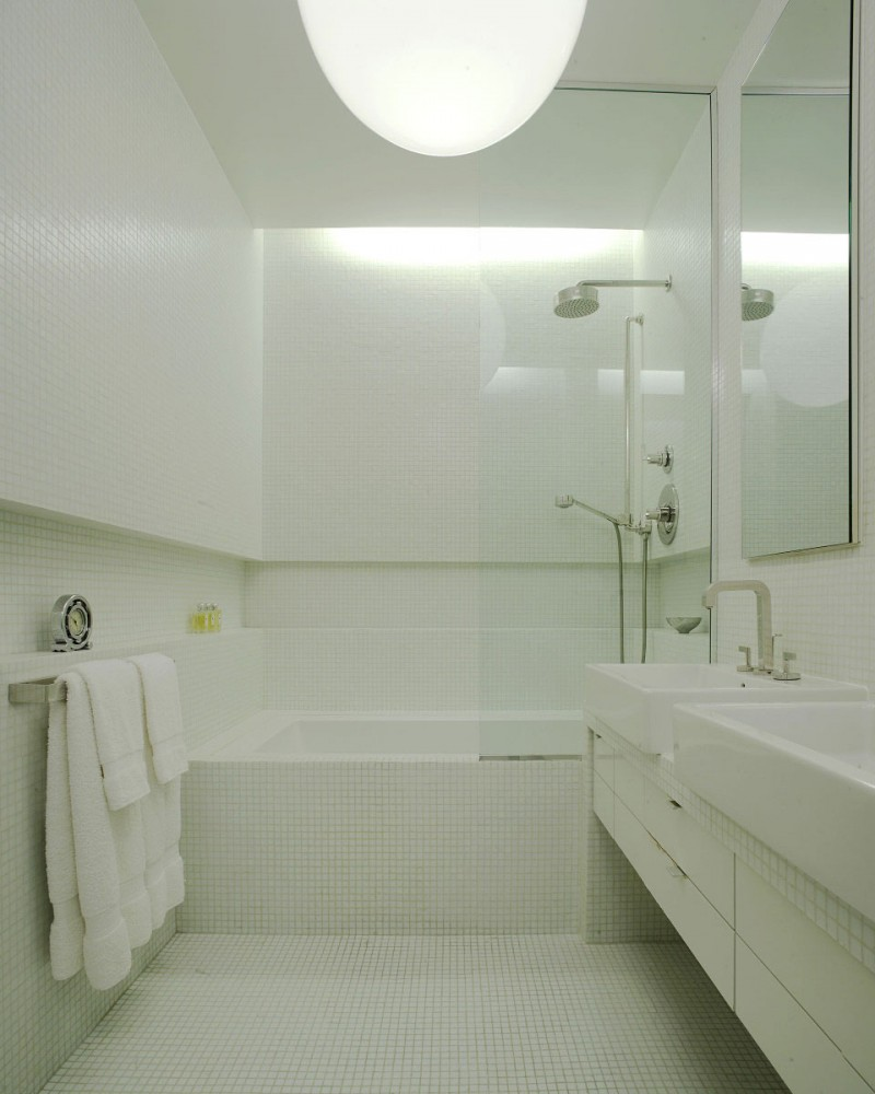 Design decorating elegant modern house model ceramic floor sophisticated design in modern home a sleek small ceramic all white bathroom with floor to dailygadgetfo Images