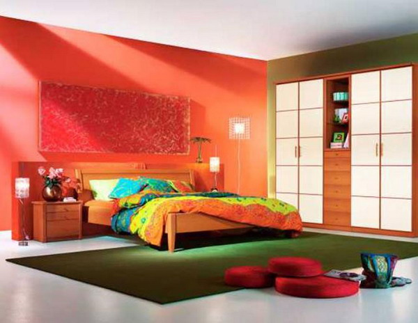 Alluring and Eye Catching Living Room Design Ideas: Alluring And Eye Catching Living Room Design Ideas Nice Curtain Simple Shoes Rack Minimal Rainbow Bed Cover Orange Shade Wall Olive Color Rug Interior Decoration Themes