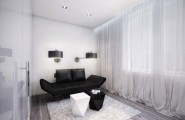 Futuristic Black And White Stylish Apartment Design : Amazing Apartment Room Style Awesome White Room Decoration With Exotic Black Leather Sofa And Cozy Rugs Near Bay Window Beautiful Curtain Nice Fur Rug