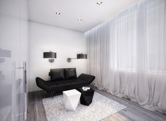 Futuristic Black And White Stylish Apartment Design: Amazing Apartment Room Style Awesome White Room Decoration With Exotic Black Leather Sofa And Cozy Rugs Near Bay Window Beautiful Curtain Nice Fur Rug