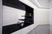 Futuristic Black And White Stylish Apartment Design : Amazing Apartment Room Style Futuristic Built In Black And White Closet Design Bright White Bold Marble Color Wall