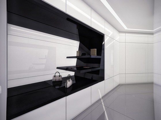Futuristic Black And White Stylish Apartment Design: Amazing Apartment Room Style Futuristic Built In Black And White Closet Design Bright White Bold Marble Color Wall ~ stevenwardhair.com Apartments Inspiration