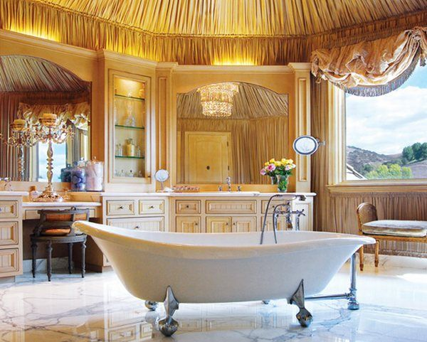 Beautiful and Relaxing Bathroom Design Ideas: Amazing Bathroom Interior Design With Cool Bathtub Cabinetry Mirror Chairs Chandelier Lamps Wall Decor Ceiling Decor Marble Flooring Window Ideas