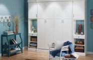 Free Standing Closet For Various Functions : Amazing Bedroom With White Free Standing Closet Blue Wall Color And Wooden Laminate Floor