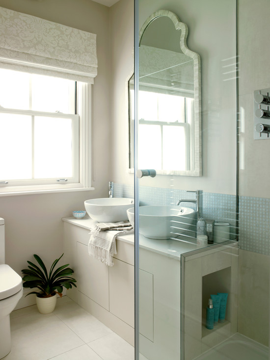 Very Cool Bone Inlay Mirrors: Amazing Bone Inlay Mirror At Contemporary Bathroom With White Bowl Sink