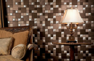 3D Wall Tile Design Ideas For New Dimension Of Wall Decor : Amazing Brown And Silver Scheme 3D Wall Tile Design With Cool Table Lamp Shade With Sofa And Cushions Ideas