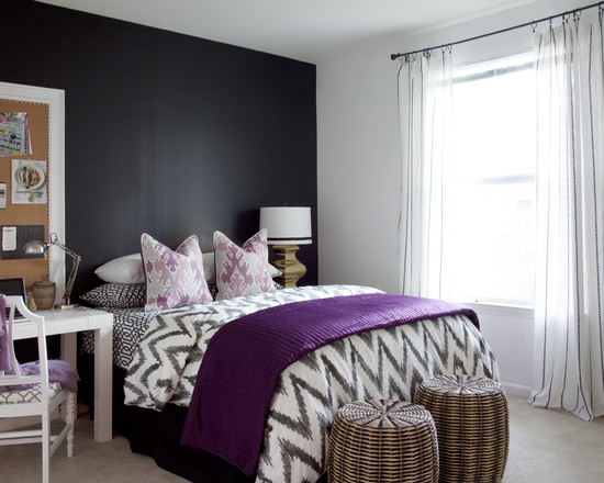 Beautiful Black White And Purple Colors Design: Amazing Color Combination Of Grey Black White And Purple At Eclectic Bedroom ~ stevenwardhair.com Art Deco Home Design Inspiration