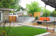 Wonderful Backyard Landscaping Ideas For Kids : Amazing Contemporary Backyard Landscaping Ideas Mix Of Adult Food Area Kid Area With Swing